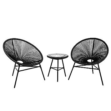 Table Basse et 2 chaises de Jardin Noir Acapulco: Beliani ...