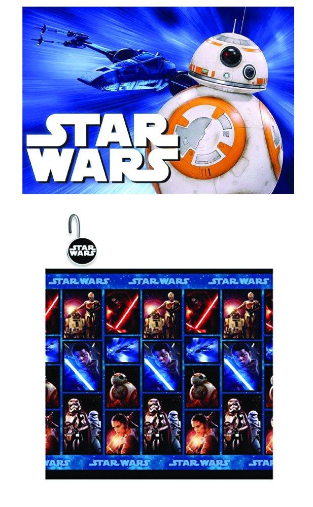 Disney Marvel New 13pcs Set (Shower Curtain with Hooks) OR 14pcs Set (Shower Curtain Set with Bath Memory Foam Mat) (Star Wars, 14pcs Set - Shower Curtain set & Memory Mat)