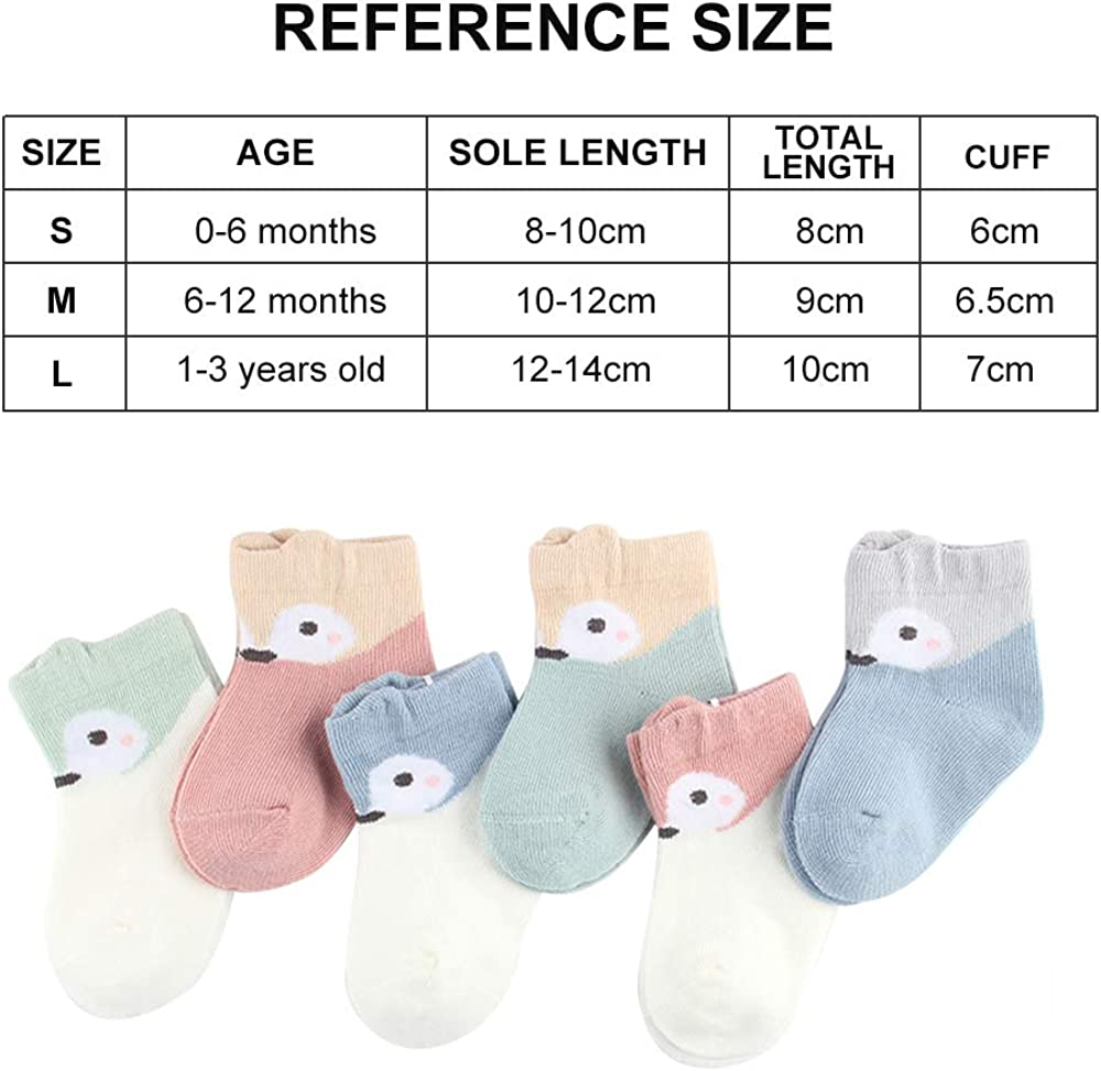 6er Pack Baby Socken Unisex Kleinkind S/äugling Neugeborenes S/öckchen aus weicher Baumwolle f/ür M/ädchen Jungen
