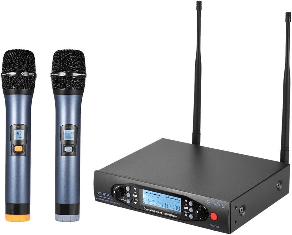 ammoon Digital Profesional UHF Micrófono Inalámbrico De Mano Sistema de Micrófono Canales Duales Pantalla LCD Receptor 2 Micrófonos para la Etapa Karaoke Reunión Fiesta
