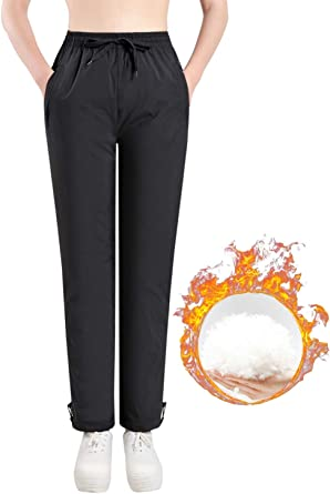 Amazon Com Gihuo Pantalones De Invierno Para Mujer De Cintura Alta Acolchados Pantalones De Nieve Clothing