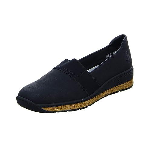 auf Füßen Aufnahmen von attraktive Farbe großer Rabatt Rieker Women's Black Low Wedge Slip On Shoe: Amazon.co.uk ...