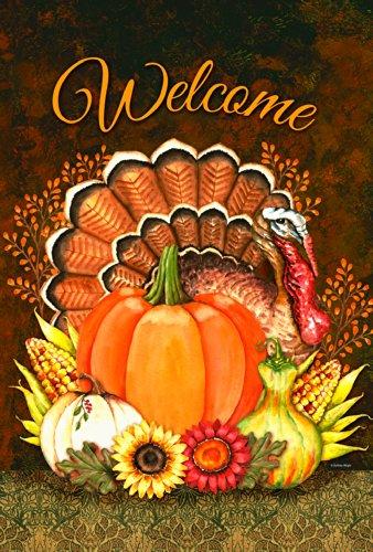 (Toland Home Garden Harvest Turkey 28 x 40 Inch Decorative Welcome Thanksgiving Pumpkin Flower House Flag)