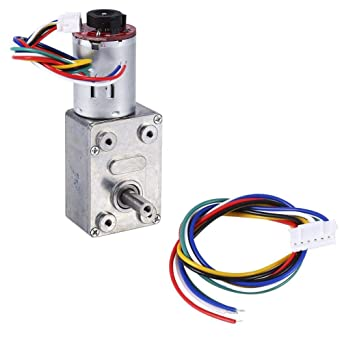 Size : 20rpm Reduction Motor DC 12V Worm Gear Motors,High Torque Speed Electric Gear Box with Encoder Srong Self-locking