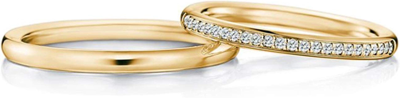 AmDxD 2Pcs Anillos de Compromiso Oro Amarillo 18K Redondo Diamante ...