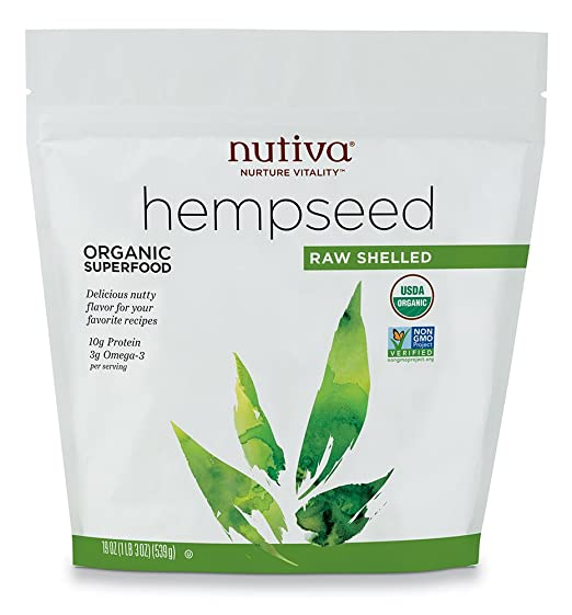 Nutiva Organic, Raw, Shelled Hempseed from non-GMO, Sustainably Farmed Canadian Hemp, 19-Ounces