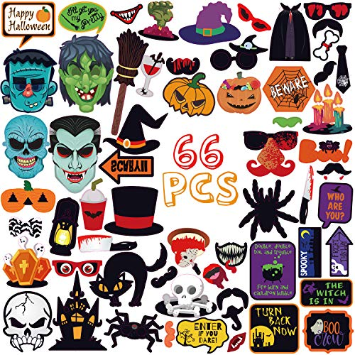 Halloween Party Photo Booth Props for Funny Terror Spooky Party Decoration,Halloween Photobooth Pose Sign Kit,Holiday Parties Supplies Pack,66pcs Cardboard Paper Printed with Sticks -
