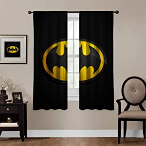 Blackout Curtains, Batman (16), Rod Pocket Thermal Insulated Darkening Window Drapes for Bedroom, Cute Animal Boys Girls Room Décor, 55