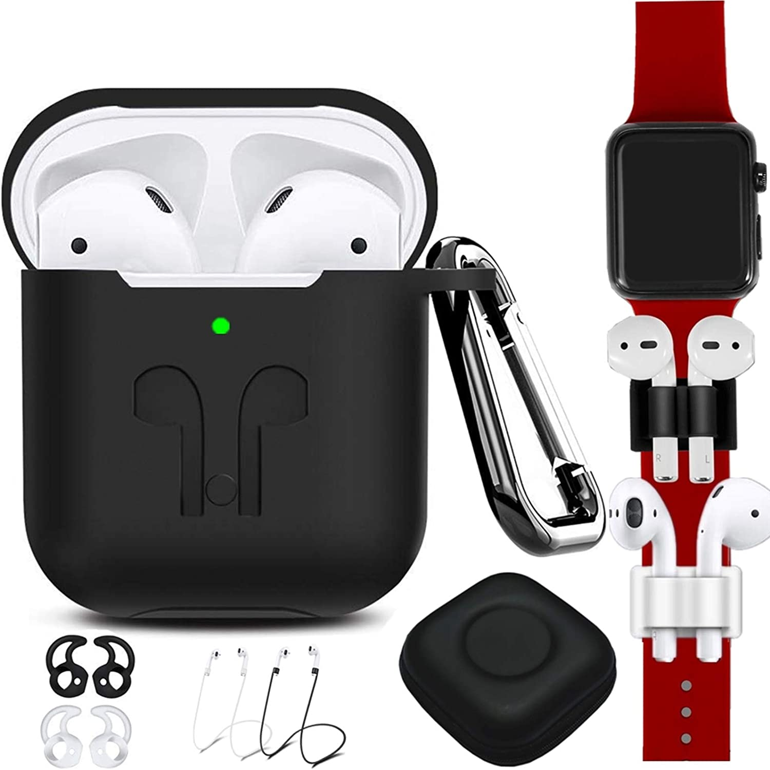 AirPods Case Cover Compatible Apple Airpods 2 & 1[Front LED Visible],9 in 1 Kits Airpods Accessories Set Protective Silicone Skin with Earpods Watch Band Holder/Ear Hook/Stap/Clip/Keychain/Grip-Black