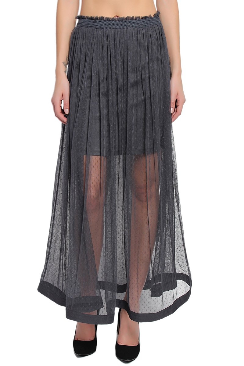 TheMogan Women's Waterfall Ruffled Mesh Long Maxi Skirt - Grey - Medium