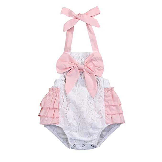 b49be1fc3 Amazon.com  Newborn Baby Girl Toddler Lace Cotton Romper Pink ...