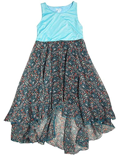 Discounted Flower Girl - Flowers by Zoe - Big Girls' Sleeveless Floral Dress, Turquoise, Teal 33100-10