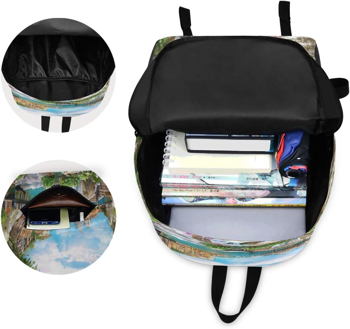 Beauty Collage Bridge Lake Laptop Backpack Bookbag House Stone Ladder Travel Backpacks Casual Daypack Workbag Shoulders Bag Sports Bags for Women Men Working Hiking Outdoor