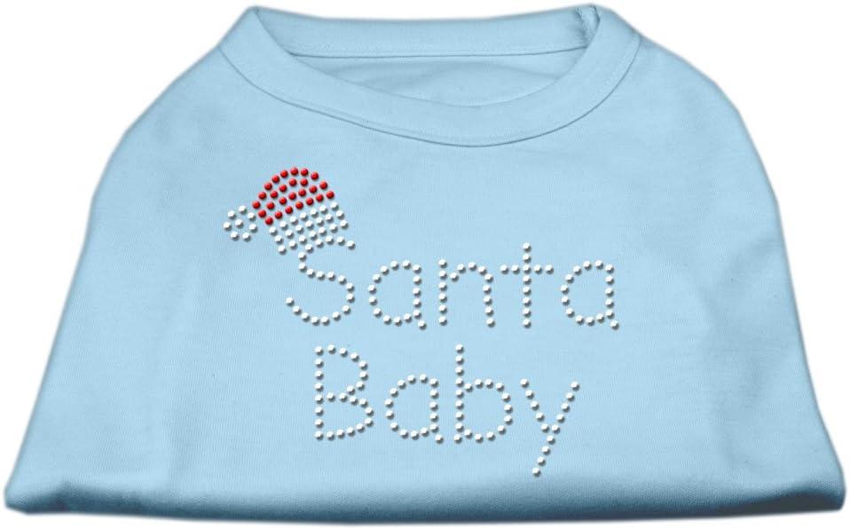Mirage Pet Products 12-Inch Santa Baby Rhinestone Print Shirt for Pets, Medium, Baby Blue