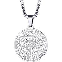 FaithHeart Sello de Siete Arcángeles Medalla Redonda Colgante Acero Inoxidable Collar Religioso Sigilo Joyería Milagrosa…