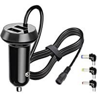 FouceClaus Car Charger for Philips, RCA, DBPOWER, Sylvania, UEME, APEMAN Portable DVD Player, 12V Car Cigarette Plug Portable DVD Player Power Cord with Dual USB Ports (6.6Ft Cable)