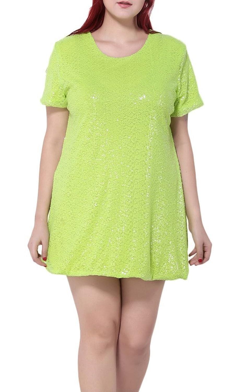 Bigood Plus Size Kurz Armel Damen Minikleid Sommerkleid Cocktailkleid Grün