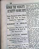 WRIGHT BROTHERS Kill Devil Hills Kitty Hawk Monument & Memorial 1929 Newspaper THE NEW YORK TIMES, December 18, 1929