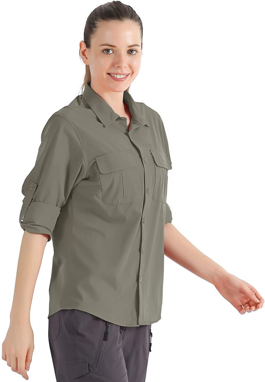 Nonwe Womens Camping Shirts Roll-Up Long Sleeve Quick Dry