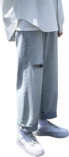 Alppvデニムパンツ メンズ ワイド 夏服 メンズ ダメージパンツ ストレート 9分丈 ポケット ワイドパンツ ファスナー クラシック かっこいい ジーンズ ファッション 韓国風 お出かけ