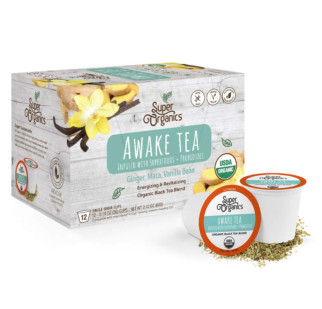 Super Organics Awake Black Tea Pods With Superfoods & Probiotics | Keurig K-Cup Compatible | Energy, Revitalizing, Refreshing Tea | USDA Certified Organic, Vegan, Non-GMO, Natural & Delicious, 12ct