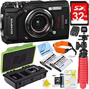 Olympus TG-5 12MP Digital Camera with 4x Optical Zoom F2.0 Hi-Speed Lens (Black) Plus 32GB Dual Battery Bundle