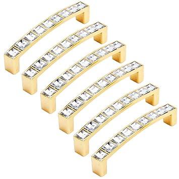 FBSHOP(TM) - 6 pomos de cristal para cajón y puerta, tiradores de diamante con base de aleación de zinc para el hogar, cocina, oficina, armario, cajón, color dorado, Hole distance:96 mm: Amazon.es: