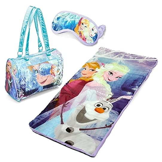 Disney Frozen Anna Elsa Olaf 3 Piece Sleeping Bag Sleepover Set
