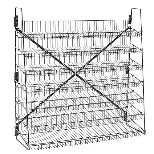 """Wire Display Rack, 7 Tier, 48"""" Wide, Black, Free Stand or Mount"""
