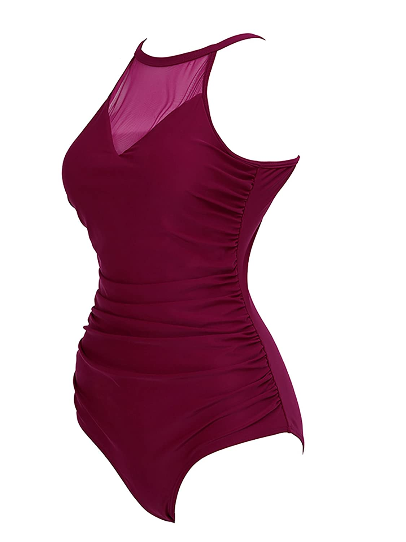 Women Retro One Piece Plus Size High Neck Swimsuit Tummy Control Swimwear