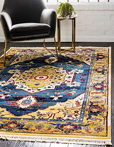 (Unique Loom District Collection Abstract Over-Dyed Vintage Border Blue Area Rug (6' 0 x 9' 0))