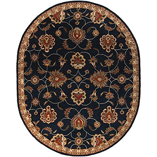 Surya Caesar CAE-1102 Classic Hand Tufted 100% Wool Ink 6' x 9' Oval Traditional Area Rug