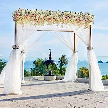 BIT.FLY - Camino de mesa de organza para boda, cenefa, recepción, telón de fondo, cortina para baby shower, rollos de tul, decoración de mesa, blanco, 197