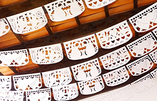 Mexican wedding decorations, Papel Picado wedding, WHITE Mexican Banners 60 ft long WHITE bunting PAPER wedding garland, Cinco De Mayo Wedding Decorations, Bridal Shower Photo TISSUE PAPER WS400 (Mexican Wedding Flags)