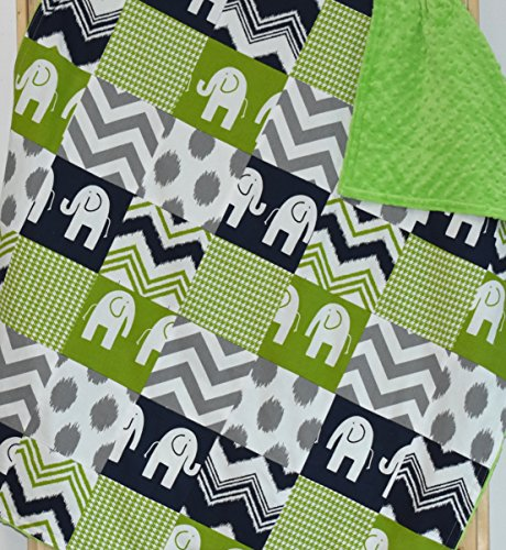 Green and Navy Elephants Blanket or quilt, Baby blanket, toddler blanket by M&G Baby Glam