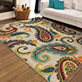 "Indoor/Outdoor Contemporary Paisley Pampano Multi Area Rug (5'2"" x 7'6""). Stain Resistant, Latex Free Rectangle Floral Pattern Outdoor Area Rug."