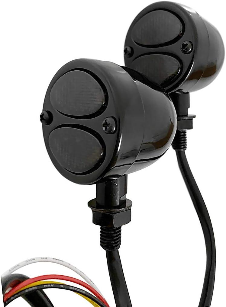 FATECIM Custom 2Pcs Motorcycle LED Turn Signal Lights with Running//Braking Lights Bullet Heavy Duty Indicators Blinkers Lights Universal Chrome