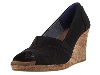 e572598dbac TOMS Women s Classic Wedge Black Linen with Cork Wedge 11 ...