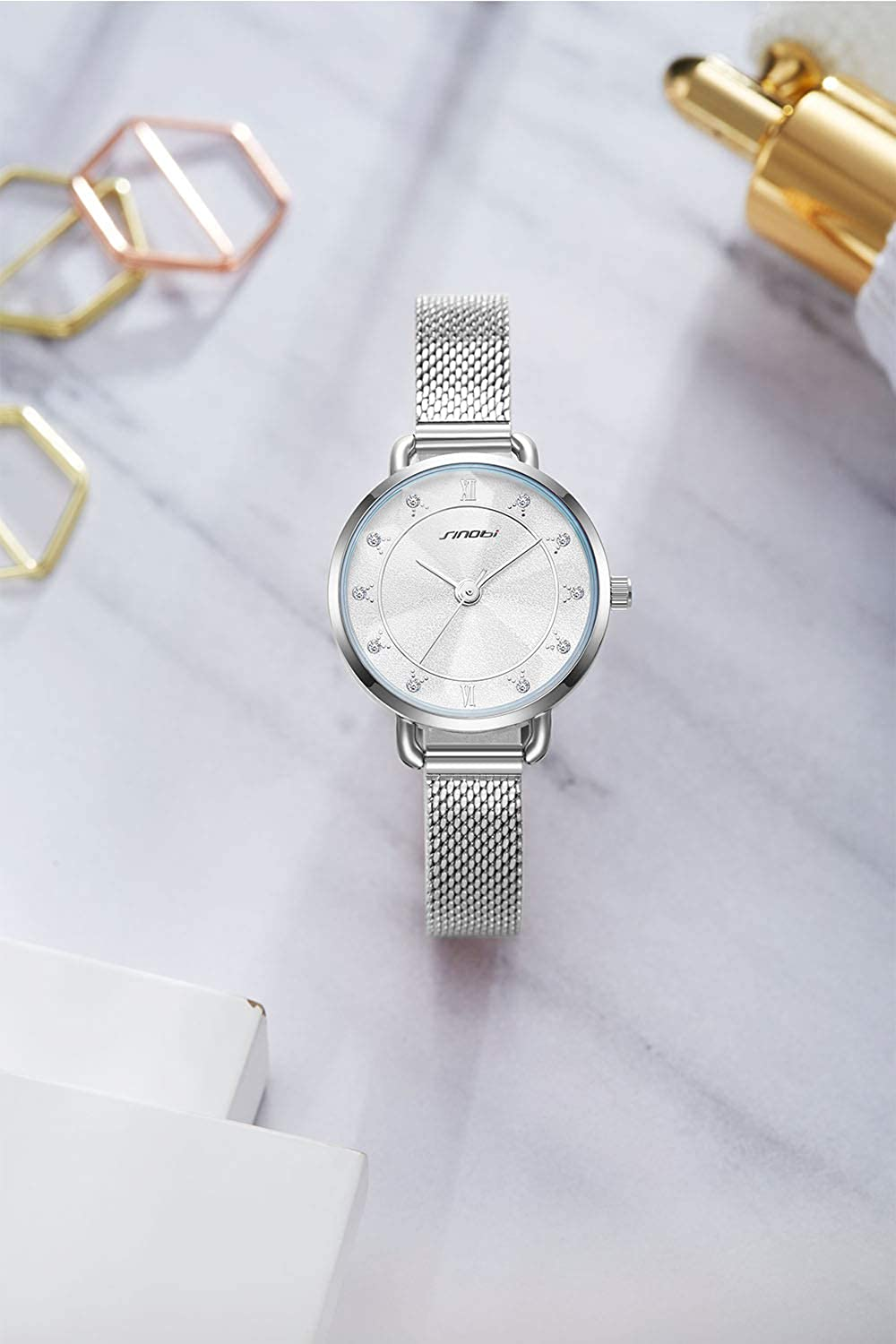Amazon.com: SINOBI Creative Design Simplicity Women Watch Elegant Diamond Mesh Band Women Watches Ladies Wristwatch (S9796L-Silver): Watches