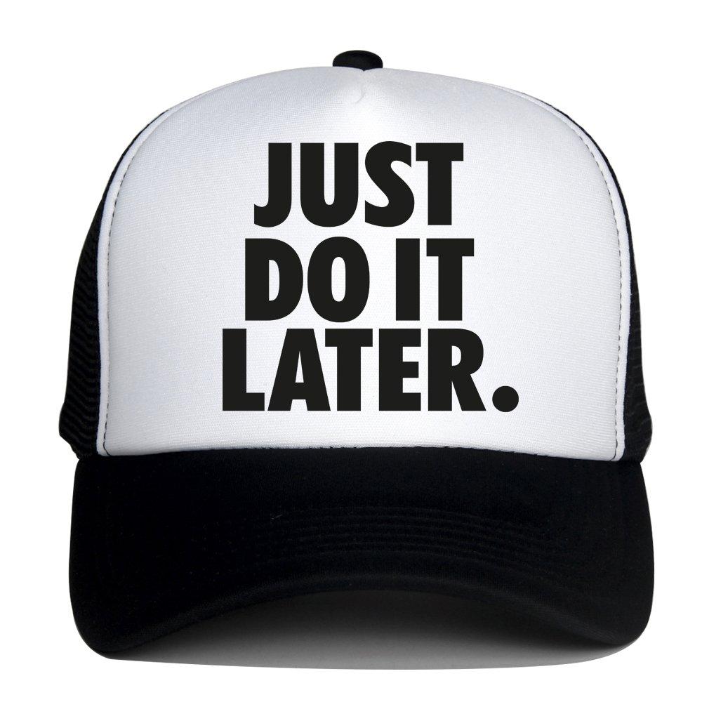 DongKing Summer Mesh Hats for Women Men JUST DO IT Later Print Snapback Cap  (Black cc481a17cb6