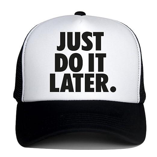 b773c0e58e26f DongKing Summer Mesh Hats for Women Men JUST DO IT Later Print Snapback Cap  (Black