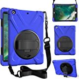 for iPad 9.7 case 2017/2018,ZenRich 360 Degree Rotatable with Kickstand,Hand and Shoulder Strap Protective Case, 3 Layer Hybr