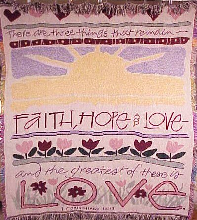 (Simply Home Woven Faith Hope Love Inspirational Tapestry Blanket Throw SKU 2092)