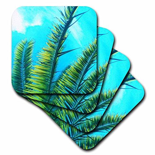 [Florene - Trees - Image of Florida Palm Fronds Against Aqua Sky - set of 4 Ceramic Tile Coasters (cst_234093_3)] (Palm Frond Placemat)
