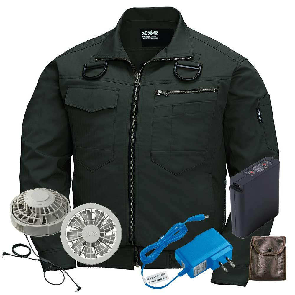 ジーベック 空調服 フルハーネス対応 長袖ブルゾンファンバッテリーセット XE98102ファンのカラー:グレー B07BK3H4K8 S 62アーミーグリーン 62アーミーグリーン S