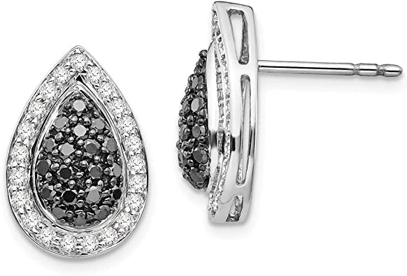 White Night Diamonds Sterling Silver Black and White Diamond Earrings One Size