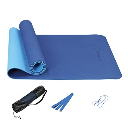 FrenzyBird Eco-Friendly,Reversible,Non-Slip,Double-Sided TPE Yoga Mat with Stretch Strap,Carry Strap and Mat Bag, Free of PVC and Other Harmful ...
