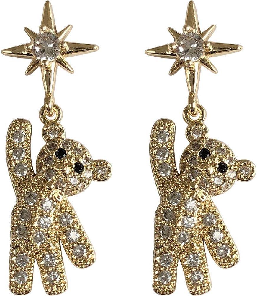 Pendientes femeninos S925 aguja de plata lindo oso aretes nicho diseño sentido completo diamantes pendientes cara pendientes finos regalo