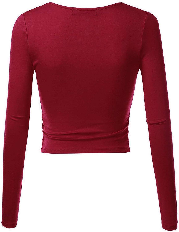 MSBASIC Crop Top Damen Bauchfrei Top V Ausschnitt T-Shirt Cropped Top