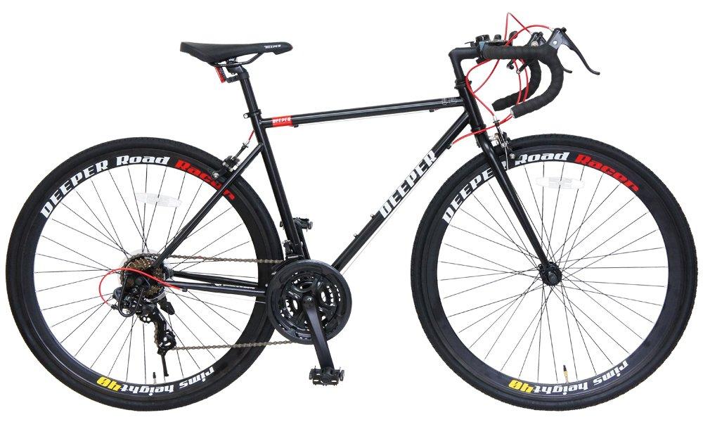 DEEPER(ディーパー) 700×28C ロードバイク DE-3048 フレームサイズ480mm シマノ21段変速 前輪クイックレリーズ LEDライト装備 JIS耐振動試験合格フレーム採用 700C 2wayブレーキシステム 自転車 初心者 エントリーモデル  ブラック×レッド B06XXQC6Q4